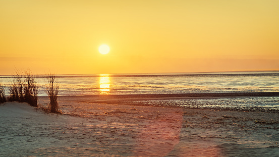 Beach Sea View At Sunset