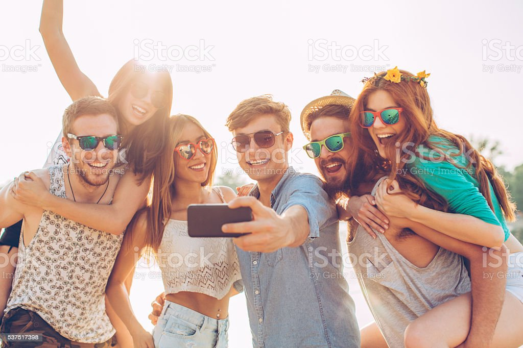 Beach selfie stock photo
