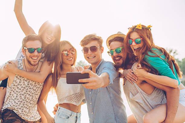 Beach selfie stock photo