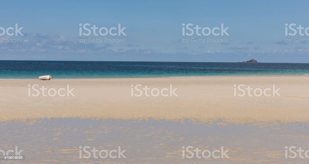 Beach Sennen Cove with Boat stock photo