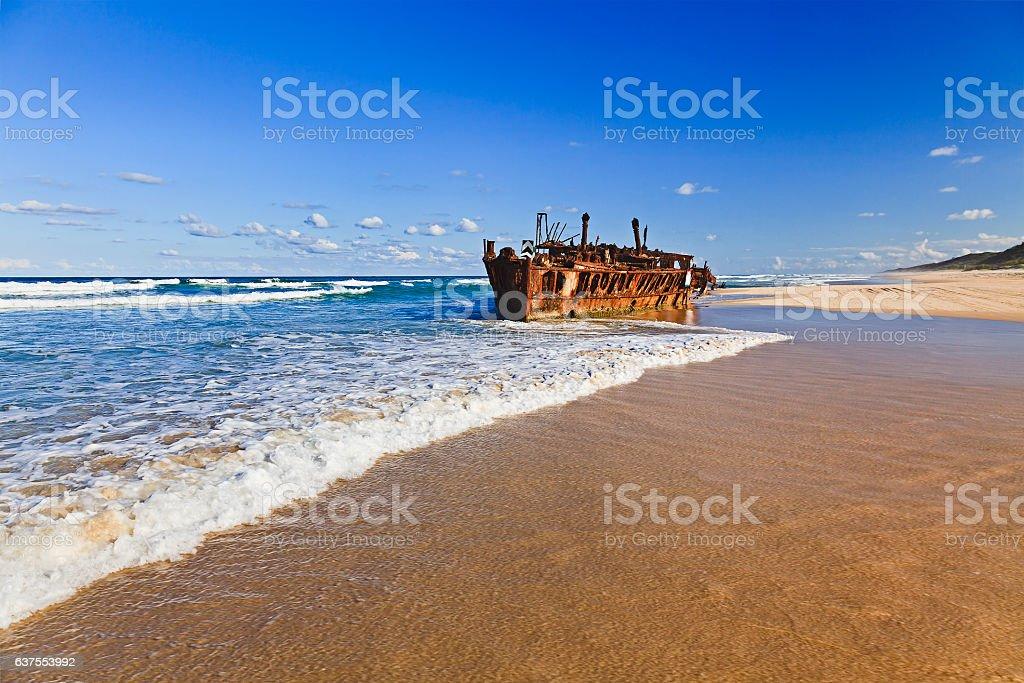 QE FI Beach Shipwreck stock photo