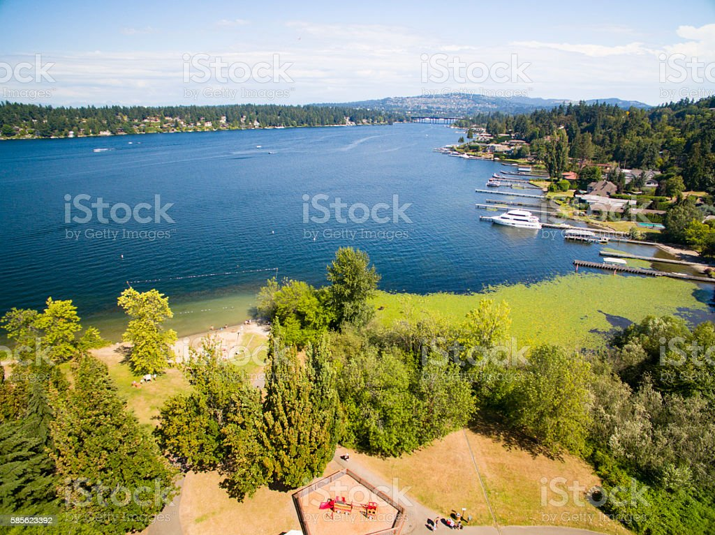 Beach Shore at Luther Burbank Park in Mercer Island, Washington - foto de stock