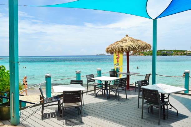 Beach side outdoor restaurant, St. Thomas, USVI stock photo