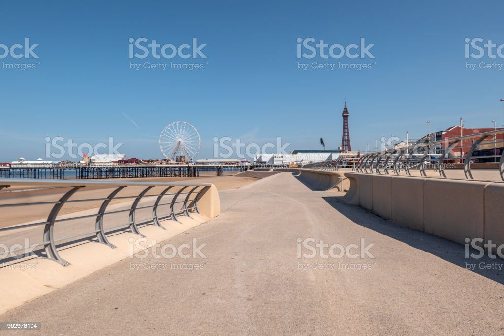 Beach side promenade in Blackpool, Lancashire stock photo