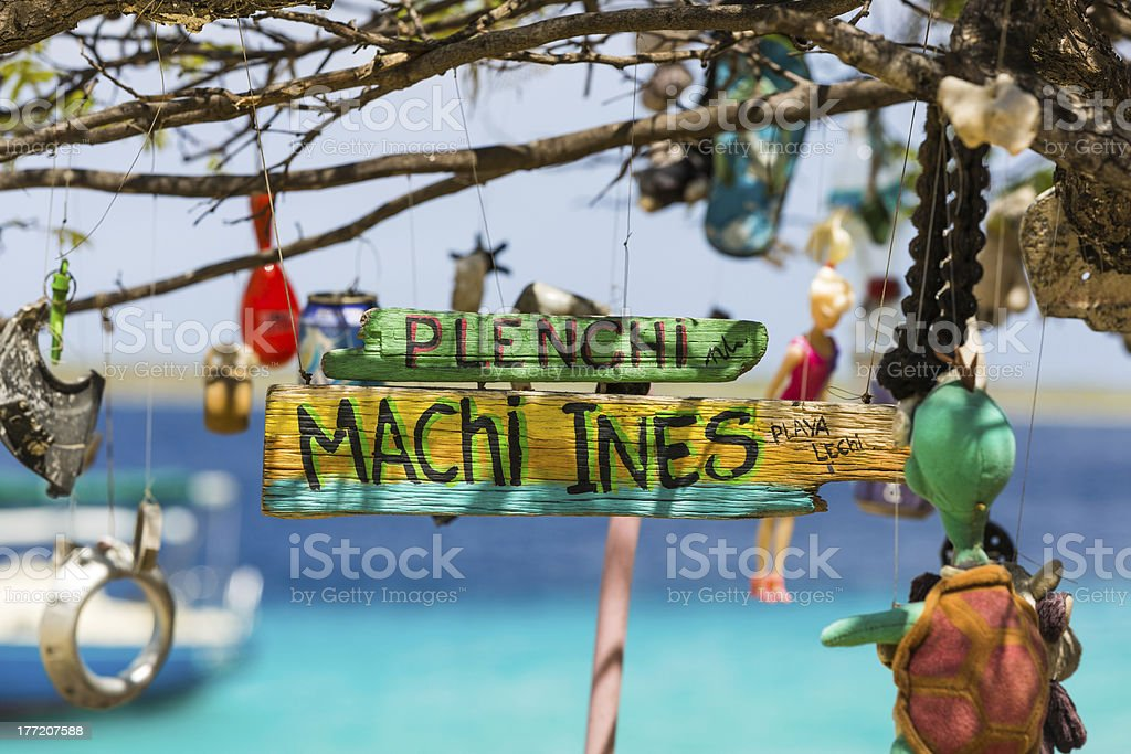 Beach sign on Bonaire stock photo