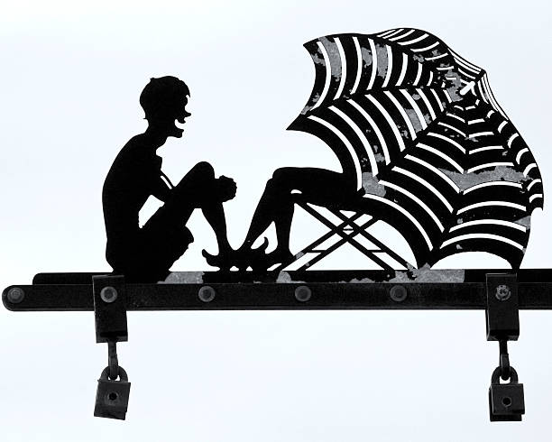 beach silhouette - people stencils silhouette stock photos and pictures