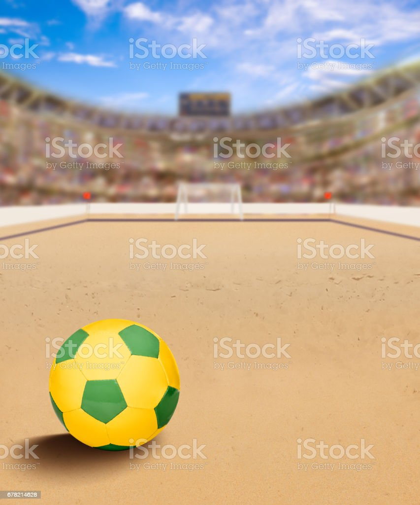 Beach Soccer Arena With Ball on Sand and Copy Space stock photo