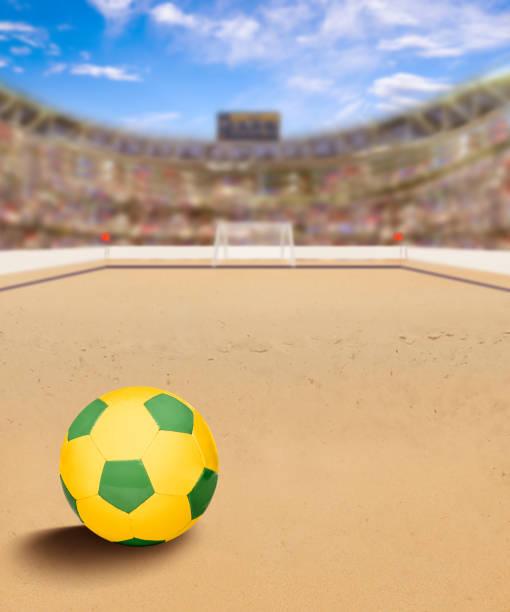 arena de futebol de praia com bola na areia e espaço de cópia - futebol de areia - fotografias e filmes do acervo