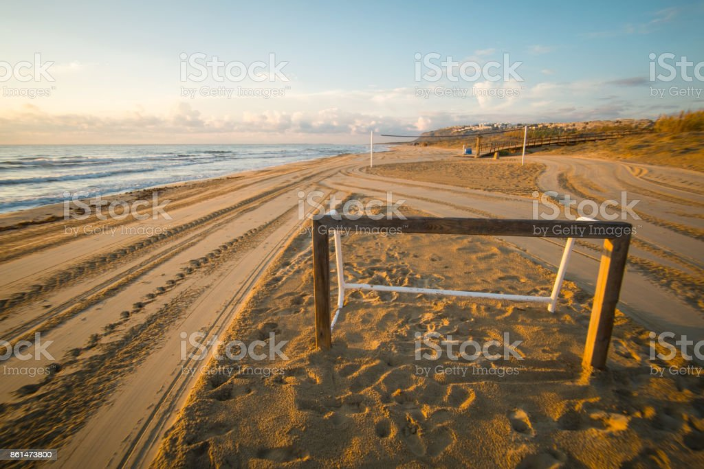 Beach soccer goal stock photo