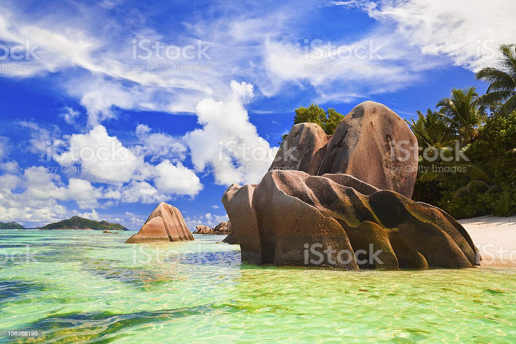 Beach Source d'Argent at Seychelles royalty-free stock photo