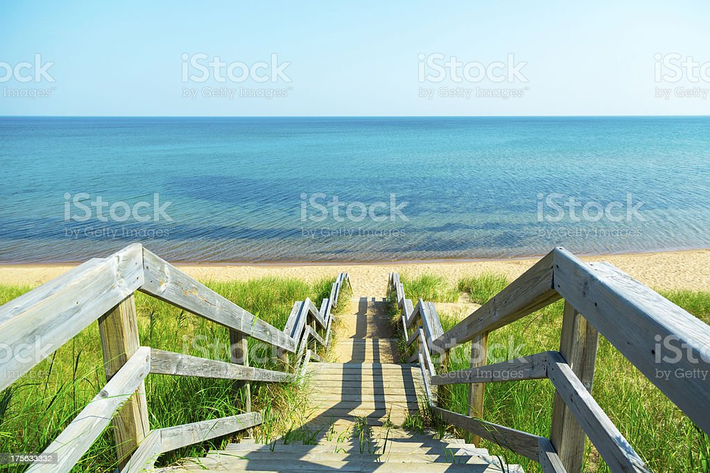 beach steps stock photo