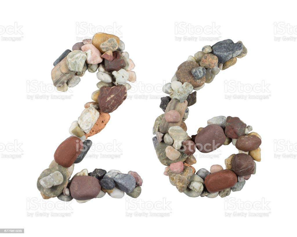 26 – Beach Stones on White Background stock photo