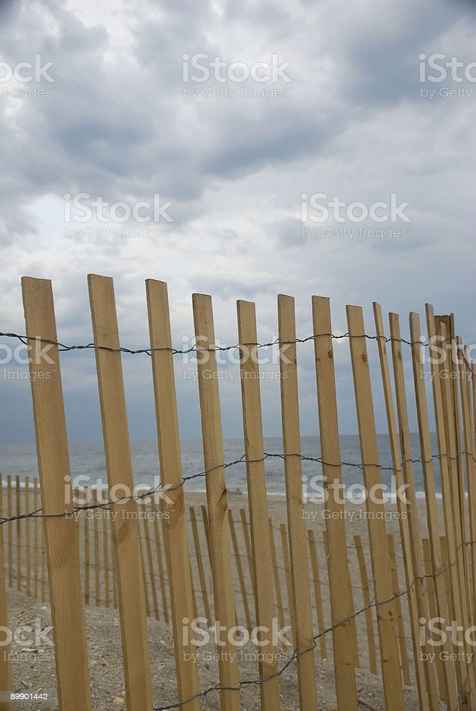 Beach Storm Fence royalty-free stock photo