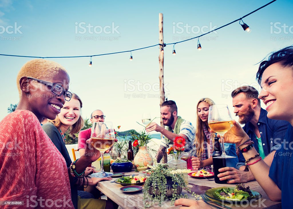 Beach Summer Dinner Party Celebration Concept stock photo