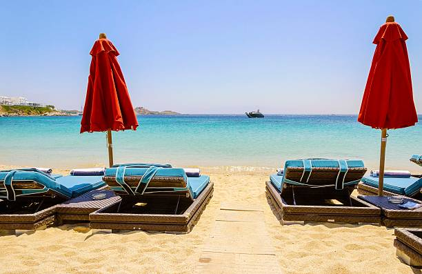 Strand Sonnenliege, Mykonos, Griechenland – Foto