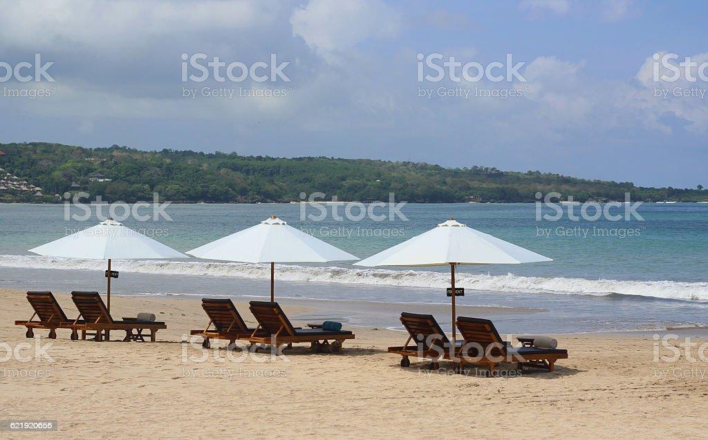Beach Sunbeds in Bali stock photo
