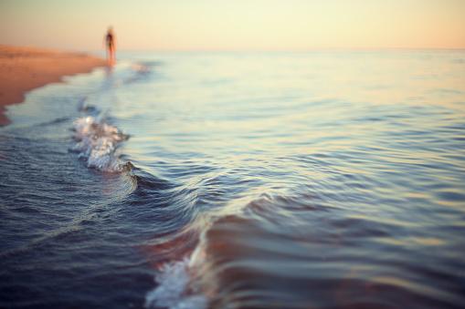 beach sunset abstract background shoreline