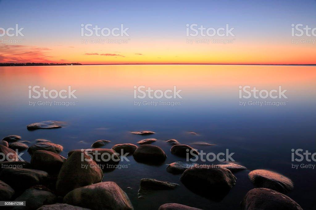 Beach Sunset Afterglow stock photo