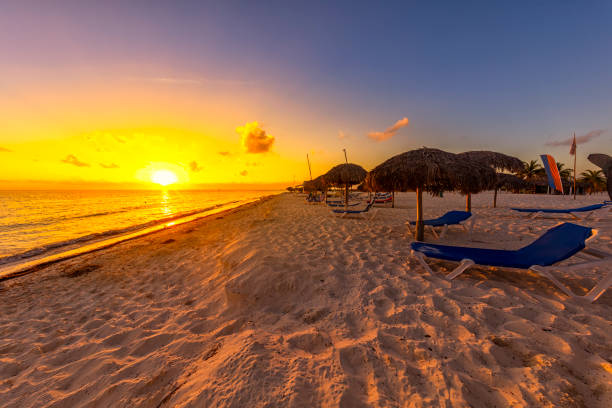 Beach Sunset At Cayo Largo Cuba Stock Photo