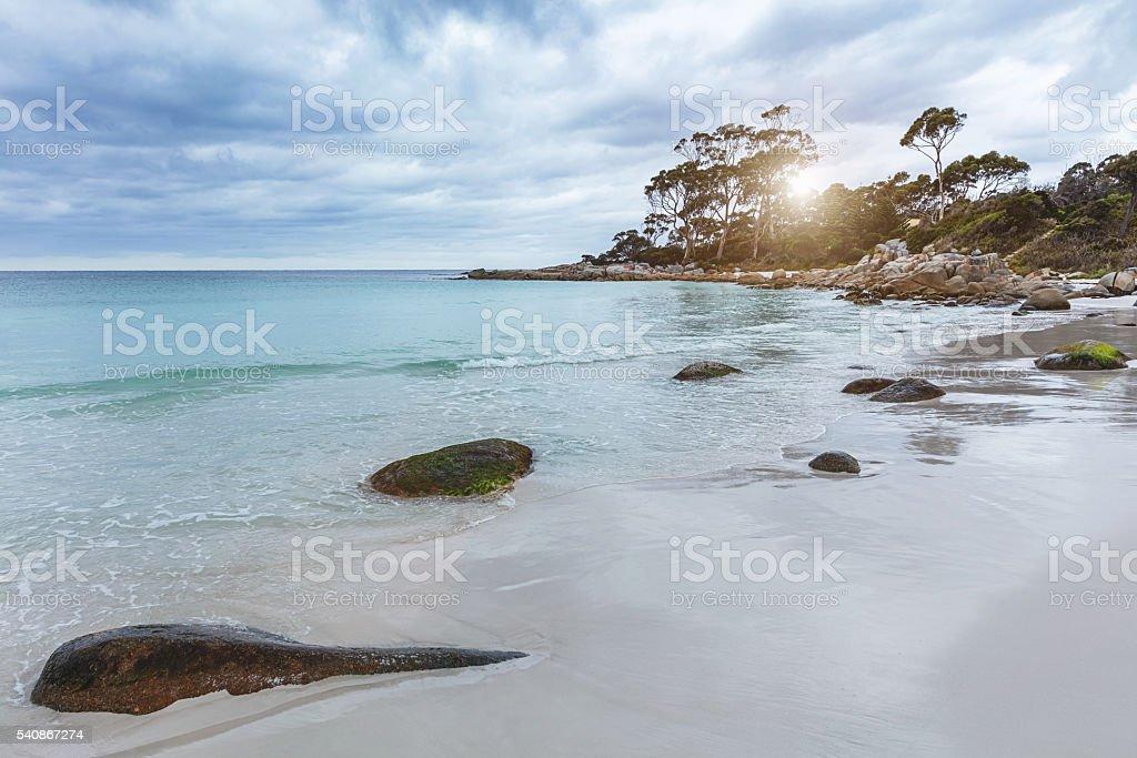 Beach Sunset Bay of Fires Tasmania Australia stock photo