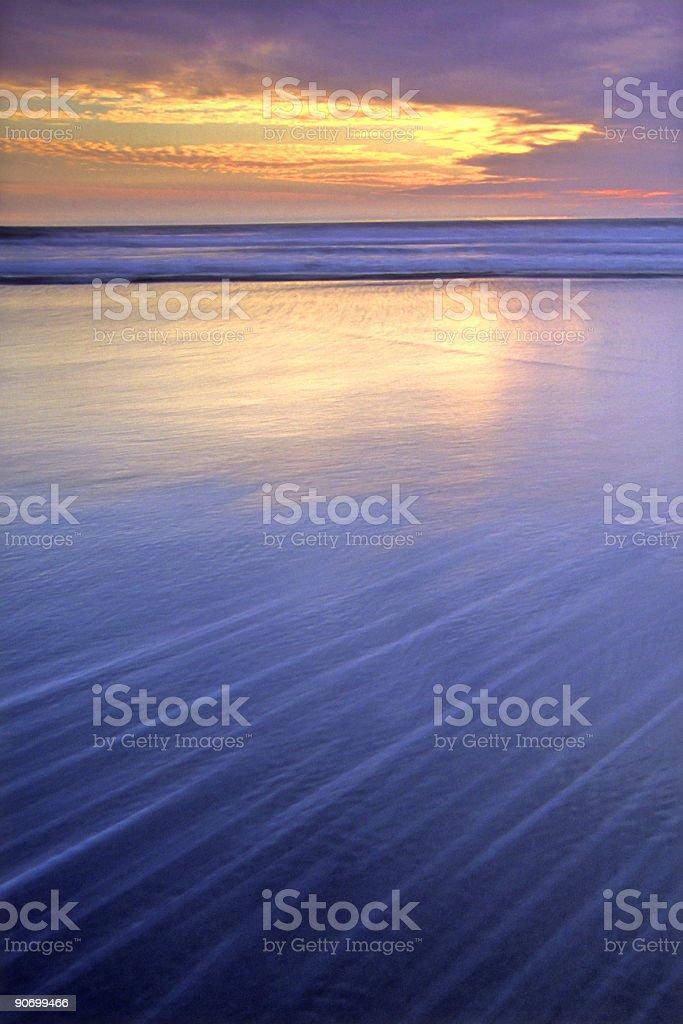 beach sunset landscape tide motion royalty-free stock photo