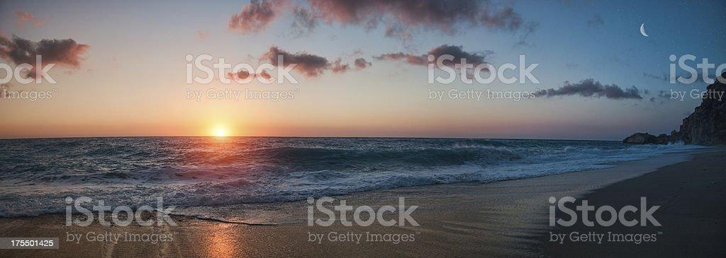 Beach Sunset - panorama stock photo