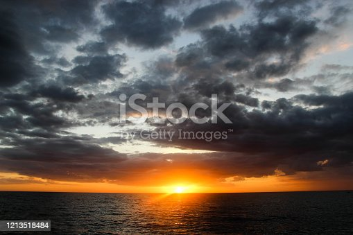 Photo taken from a Florida beach of the sunset and clouds.
