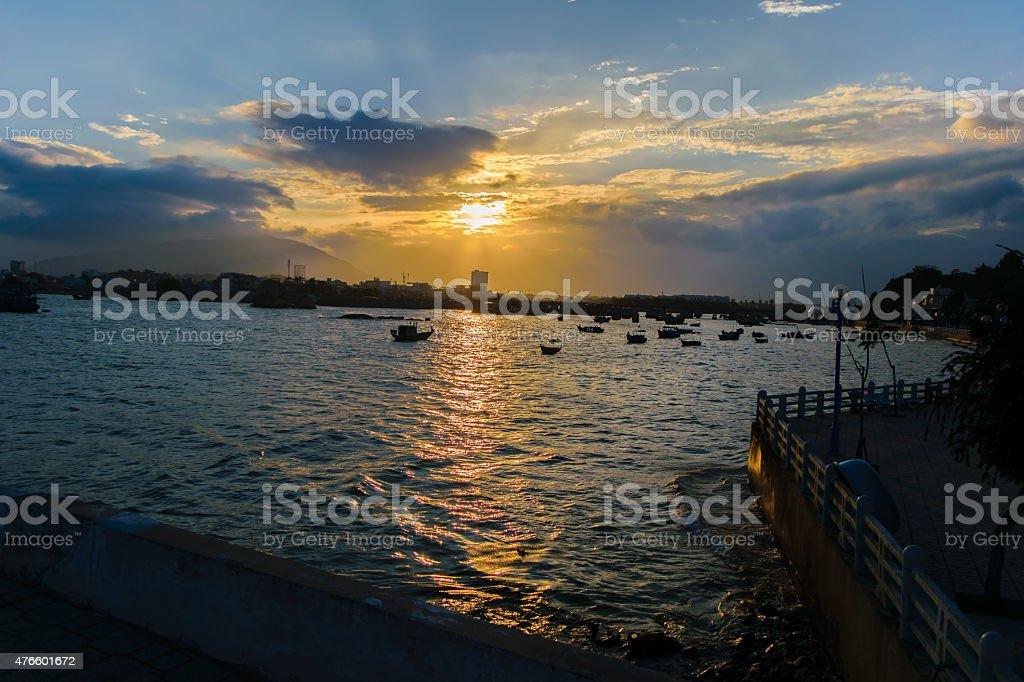 ビーチの夕暮れ ストックフォト