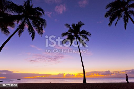 Photography of a beautiful and calm sunset on a tropical beach. Outdoors photography.