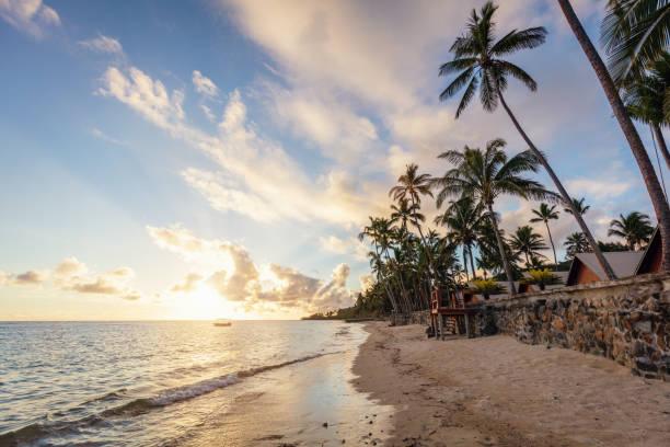 Beach Sunset Viti Levu Fiji stock photo