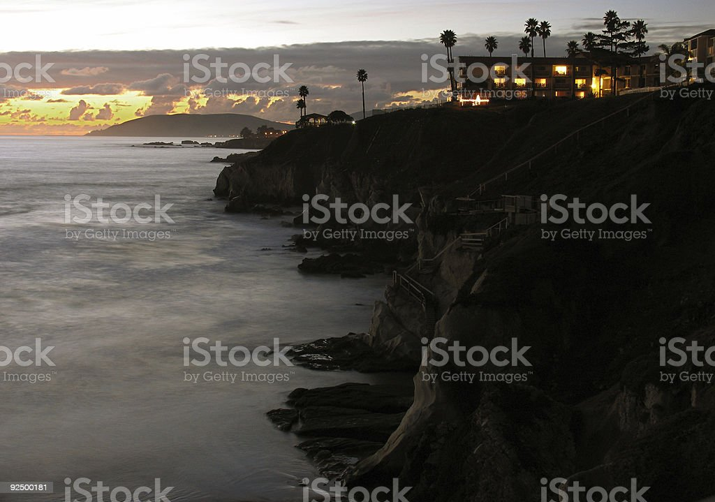 Beach Sunset with Hotel Resort royalty-free stock photo