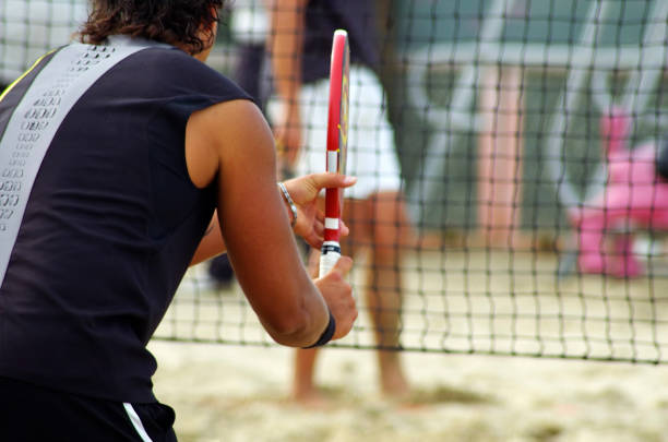 beach tennis - 2 stock photo