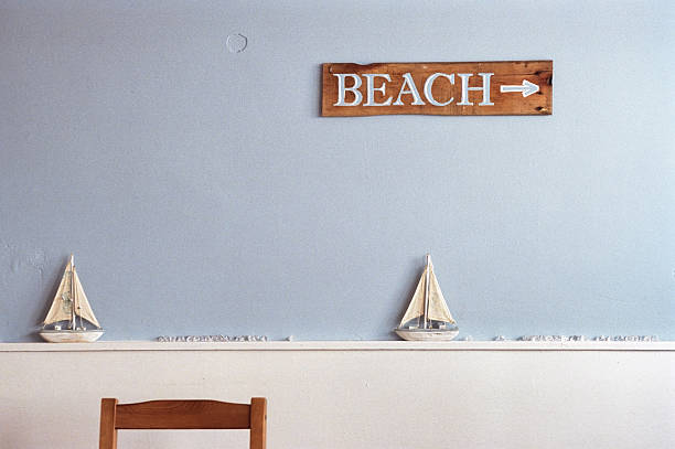 Beach this way - Cosy indoors decoration stock photo