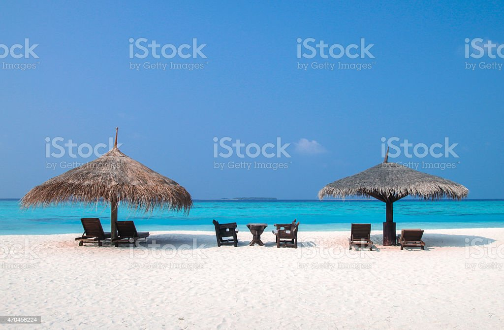 Beach Time under Parasols stock photo