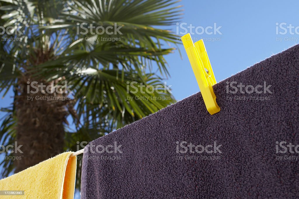 Beach towels drying royalty-free stock photo