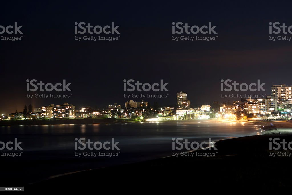 Beach town at night royalty-free stock photo