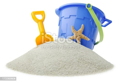 A child's bucket,shovel and a starfish on an island of sand