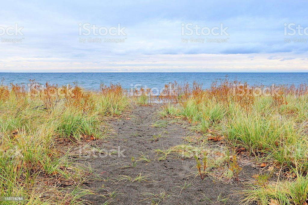 Beach Trail on a Cold Late Fall Day royalty-free stock photo