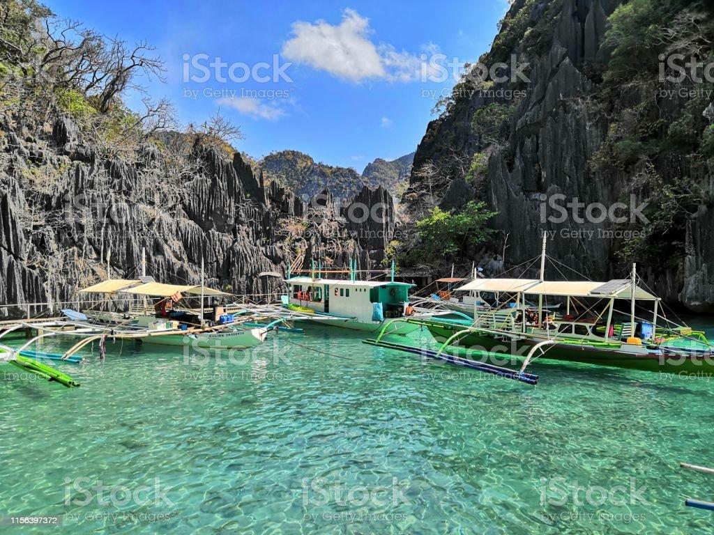 Strandausflug mit dem Boot in Coron Region auf den Philippinen - Lizenzfrei Abenteuer Stock-Foto