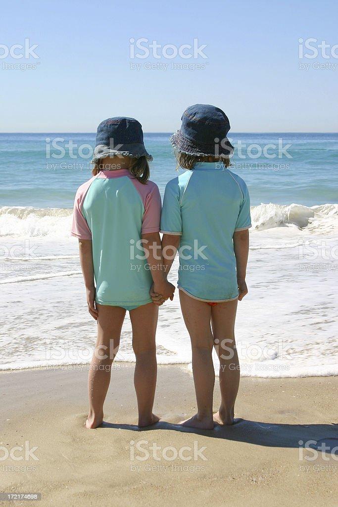 Beach - Twin Girls 01 royalty-free stock photo