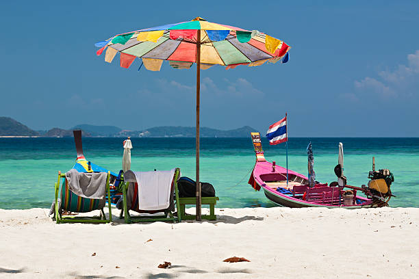 Beach umbrella and chairs in Coral island, Thailand Beach umbrella in Komodo beach in Coral island, Thailand indo pacific ocean stock pictures, royalty-free photos & images