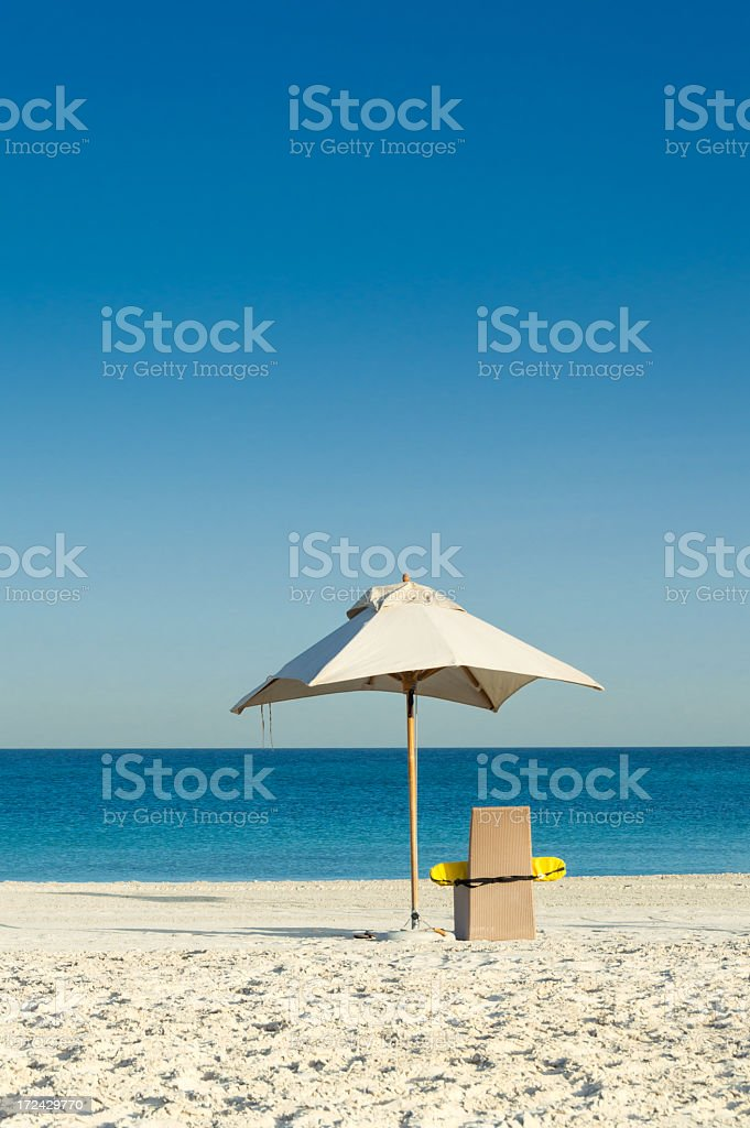 Beach umbrella at the sea royalty-free stock photo