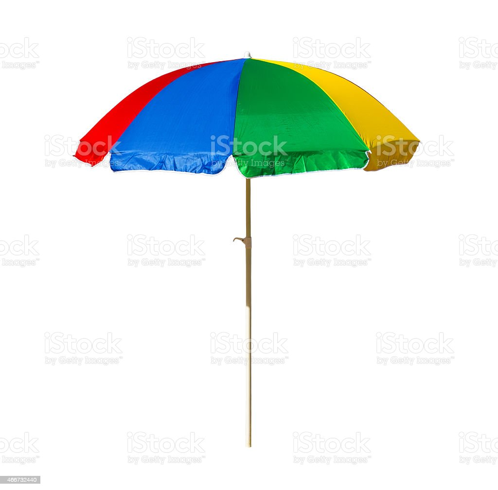 beach umbrella isolated on a white background stock photo