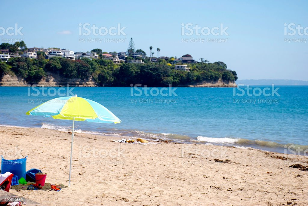Beach Umbrella, North Shore Auckland, NZ stock photo