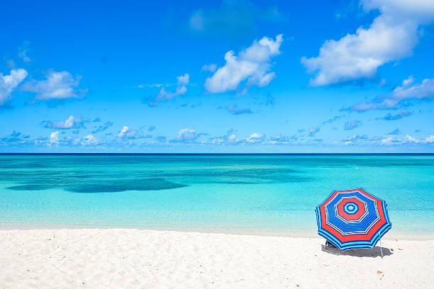 beach umbrella - aruba stockfoto's en -beelden