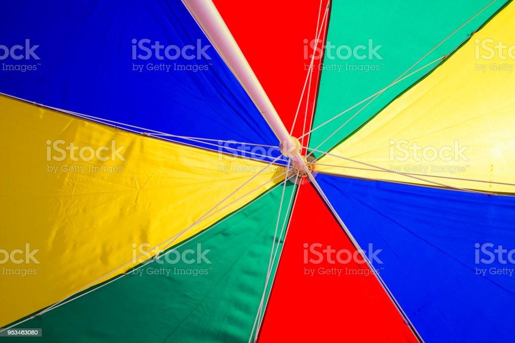 Beach Umbrella under surface colourful. Trip tropical beah holidays theme wallpaper stock photo
