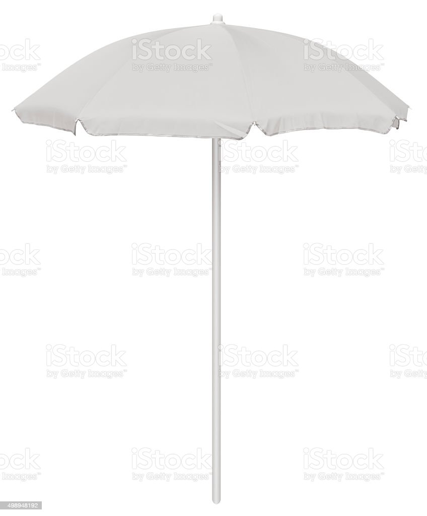 Beach umbrella - white stock photo