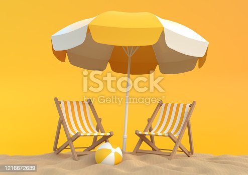 Beach umbrella with chairs and beach accessories on the bright orange background. Summer vacation concept. Minimalism concept. 3D Rendering, 3D Illustration