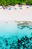 Lovely sunny day on the beach. Bali island, drone shot