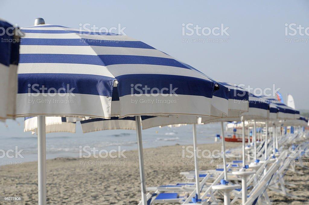 beach umbrellas in a row royalty-free stock photo